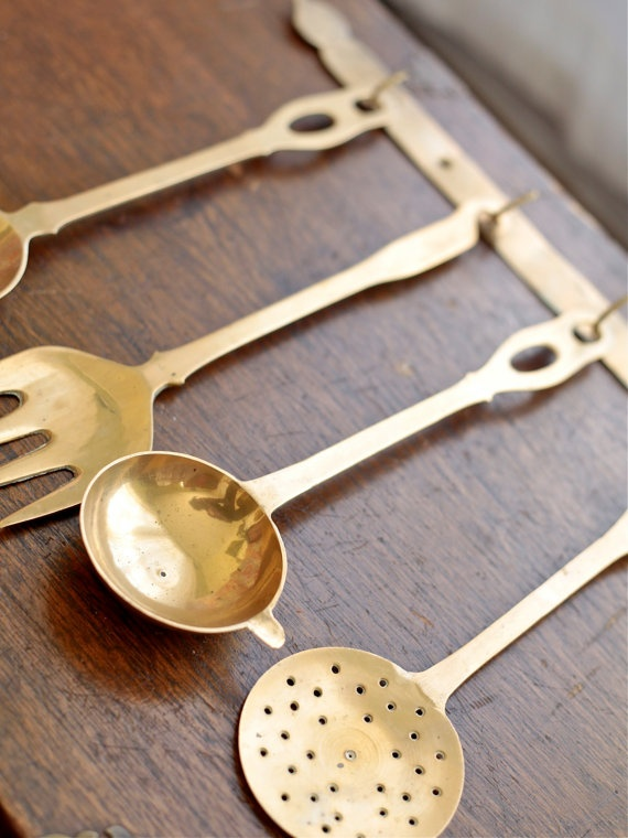 would LOVE these hanging in my kitchen. #brass Vintage Set of Hanging Utensils by sleepyhollowgeneral,