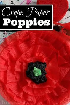 An easy and beautiful crepe paper poppy craft for kids to make for Remembrance Day. We show you a version for preschoolers, and one for older kids.