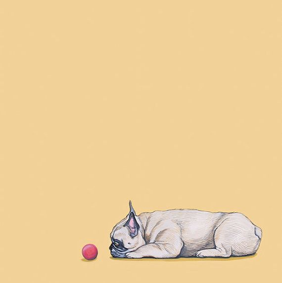 French Bulldog and Red Ball, illustration, via Etsy listing at https://www.etsy.com/es/listing/109076440/dog-art-print-french-bulldog-11x14