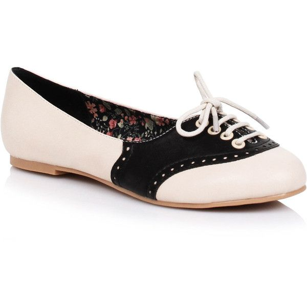 White & Black Retro Halle Oxford Saddle Shoes ($68) ❤ liked on Polyvore featuring shoes, oxfords, black, black lace up shoes, floral shoes, lace up oxfords, black low heel shoes and vintage shoes