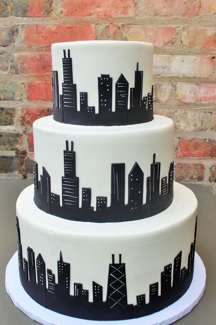 Black chicago skyline architecture cake building cake