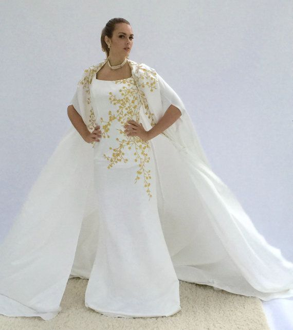 Haute Couture White Cape Dress