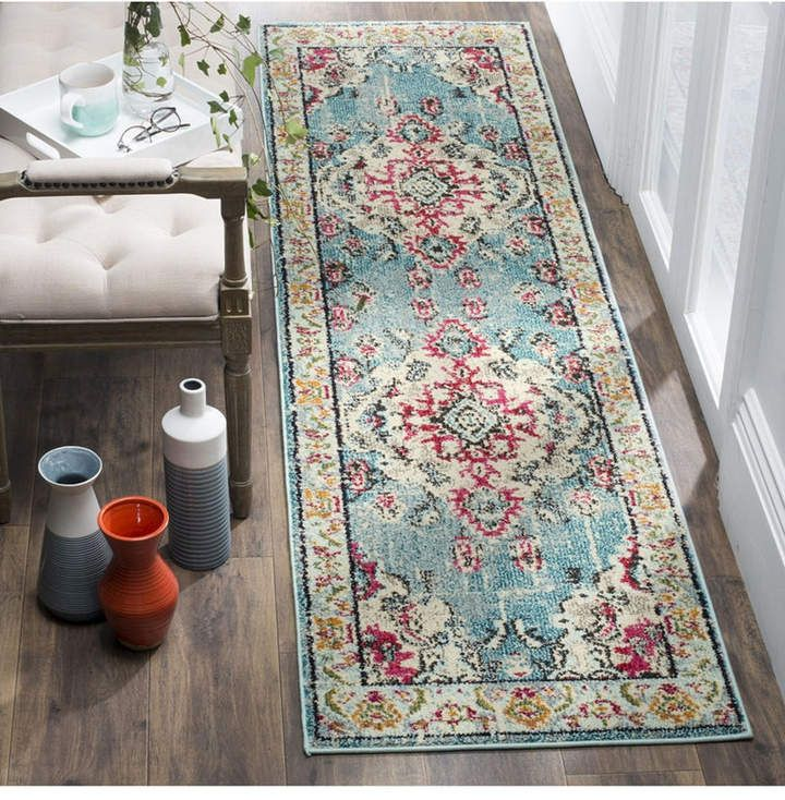 Safavieh Monaco Light Blue And Fuchsia 2 2 X 12 Runner Area Rug Traditional Area Rugs Rug Runner Blue Area Rugs