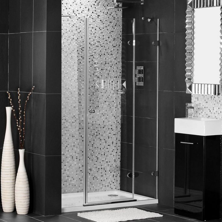 Glass Showers Doors Design With Impressive Black Wall And Floor Tile Also  Gray Polka Dot Wall Bathroom Plus White Modern Urn Of Fabulous Design For  Bathroom ...
