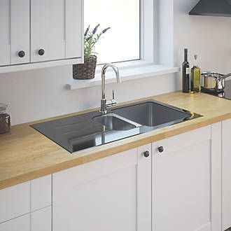 Stainless Steel Glass Top Kitchen Sink & Drainer 1½ Bowl Reversible 950 x 500mm | Stainless Steel Sinks | Screwfix.com