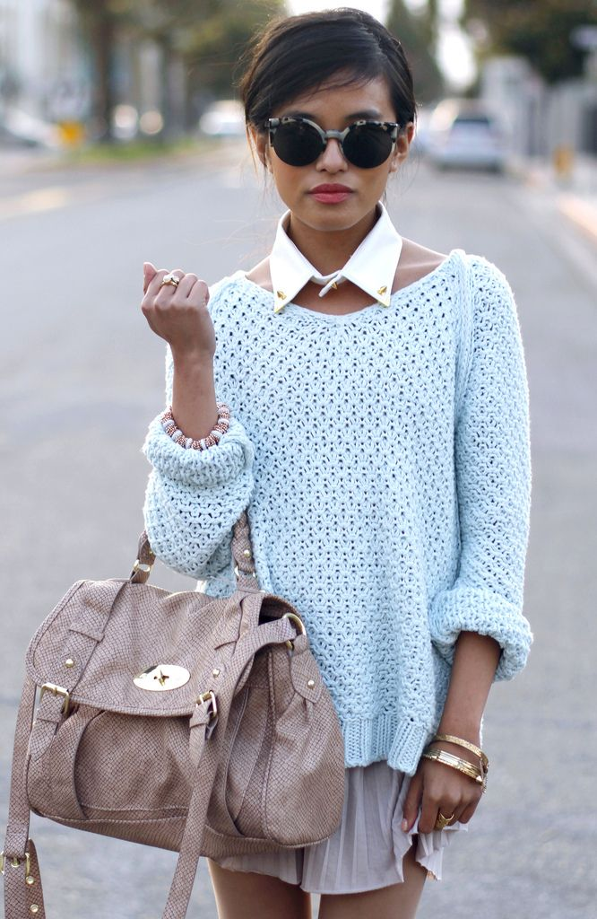 love this look!   PS statement collars are still big for fall! ;): Baby Blue, White Collars, Glasses, Style, Color, Peter Pan Collars, Jumpers, Knits Sweaters, Bags