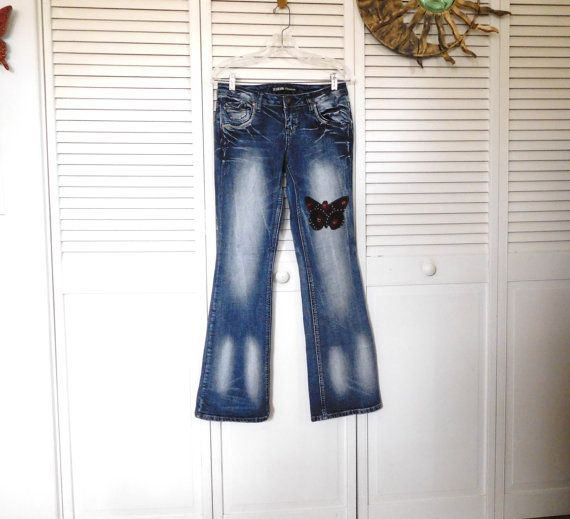Bleached Jeans Patched Butterfly Hip Hugger Jeans by LandofBridget