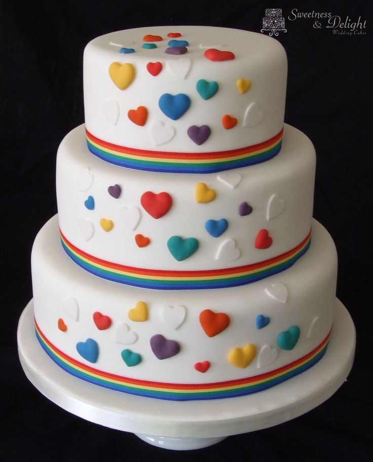 Bright multicoloured heart wedding cake