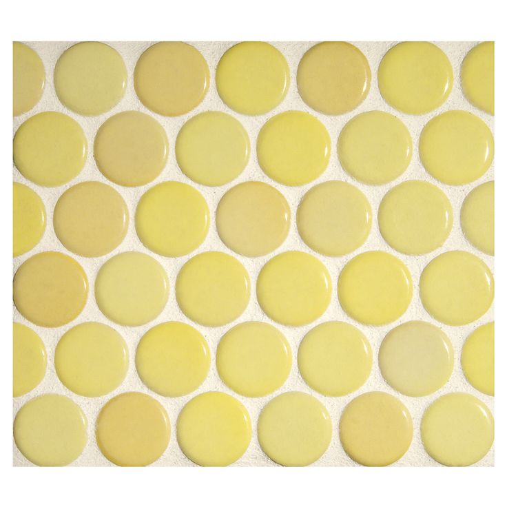 """Complete Tile Collection Penny Round Mosaic - Amarillo - Gloss, 1"""" Round Glazed Porcelain Penny Mosaic Tile, Anti-Microbial, Anti-Odor, Anti-Staining Technology, MI#: 063-Z1-250-059, Color: Amarillo"""
