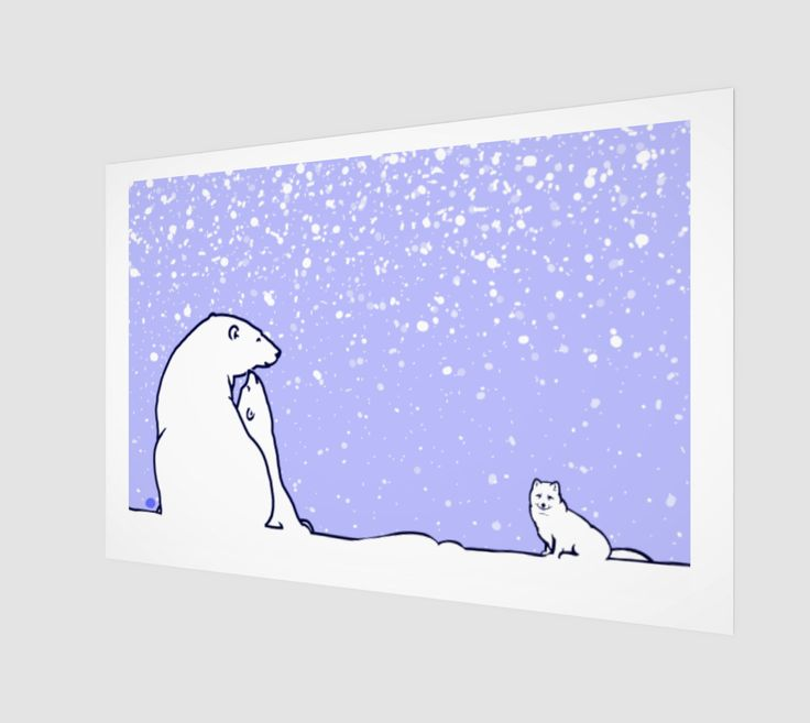 polar bear family and arctic fox blue version preview