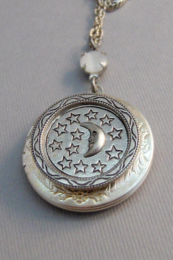 Luna medallón medallón antiguo medallón de plata
