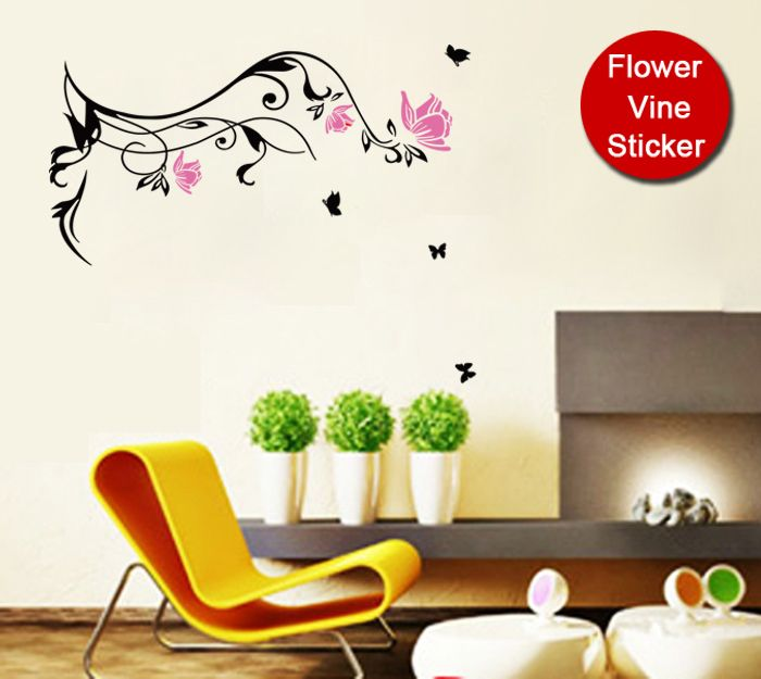 Cheap sticker wall, Buy Quality sticker decal directly from China sticker car Suppliers:  [funlife]-67x100cm(27x40in) Red/Pink Flower Vine Graphic Art Mural Wall Sticker Butterfly Decoration (L2012524)&nb