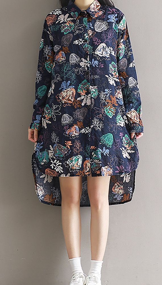 Women loose fitting plus over size flower leaves dress button up skirt fashion #Unbranded #dress #Casual