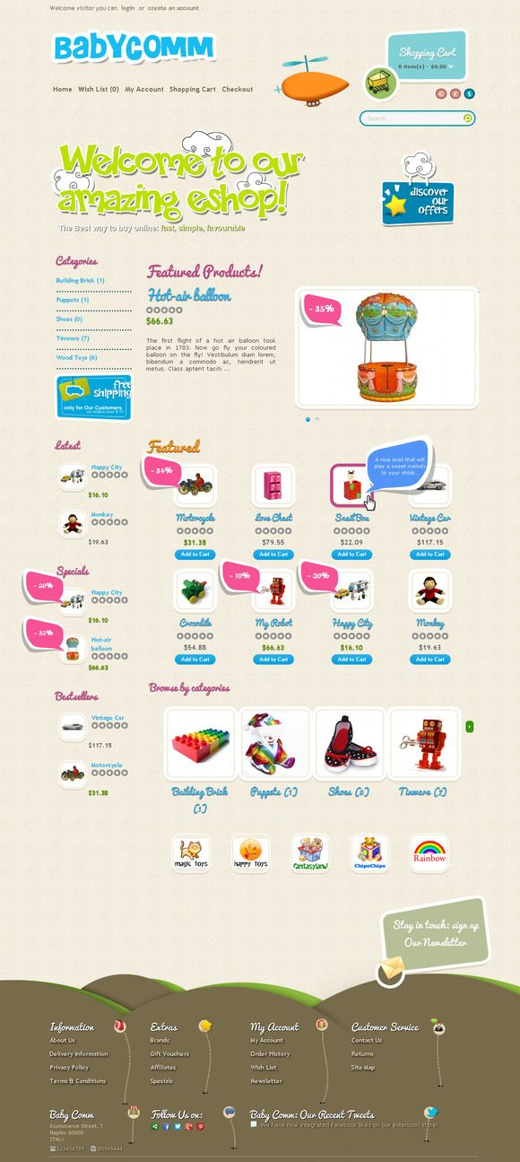 BabyComm OpenCart Responsive Theme by ThemeBooster.com on Creative Market