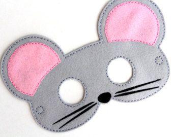 Ratón máscara, disfraz de ratón, fieltro máscara, máscara de la cara de los niños, máscara de Animal, disfraz de Halloween, juegos de simulación, Dress Up, favores de partido, traje de los cabritos