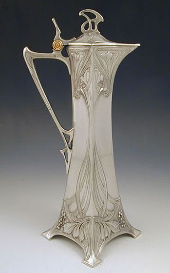 WMF PEWTER CLARET JUG c.1906. Stunningly beautiful. Who even knew they had jugs dedicated to claret, and now I've seen two in as many days.