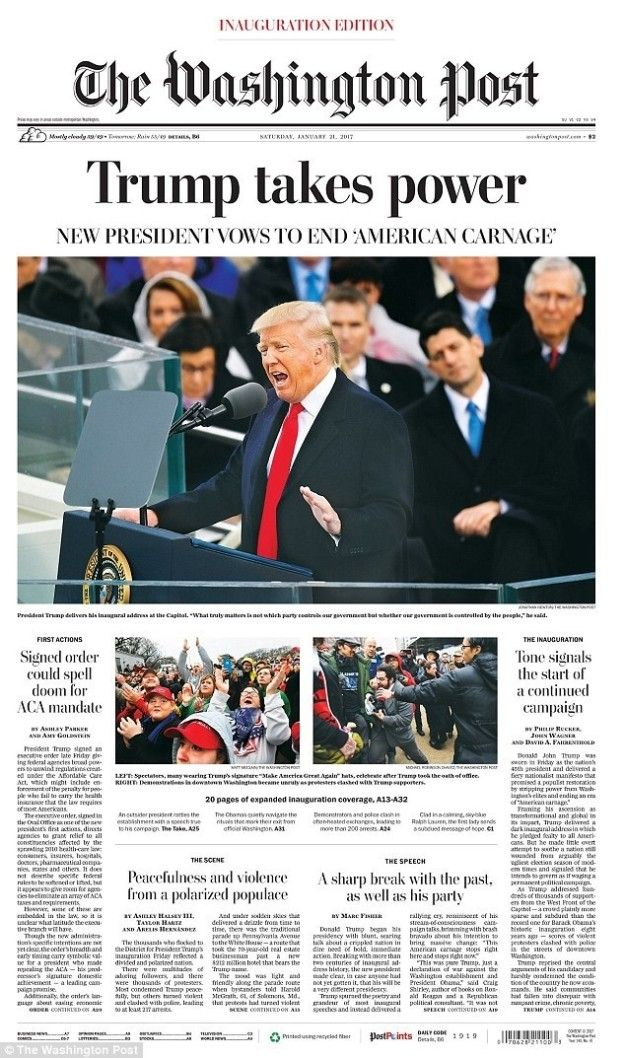 The Washington Post (US) | Newspaper Front Pages Around The World On The Inauguration Of Donald Trump