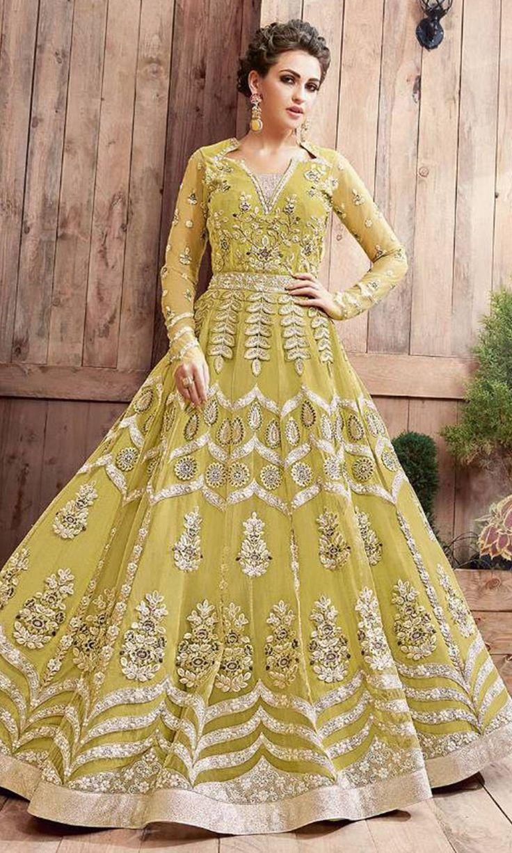 Buy online Olive Green Designer Salwar Kameez (SKU Code : SUEBRZO21003) at Ishimaya Fashion.