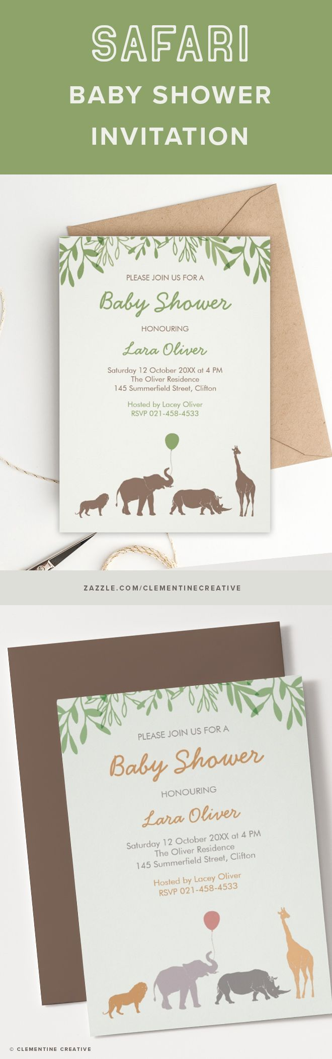Throw a safari-themed baby shower in style with this beautifully designed invitation. It features 4 African animals.