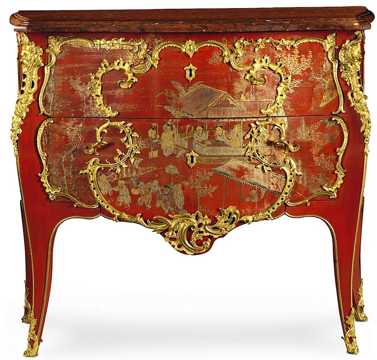 A Very Fine And Rare Gilt Bronze Mounted Chinese Red Lacquered Commode  Stampedu2026