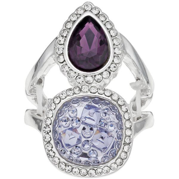 Jennifer Lopez Simulated Drusy & Teardrop Double Halo Stretch Ring ($13) ❤ liked on Polyvore featuring jewelry, rings, lt purple, drusy jewelry, purple jewelry, artificial jewellery, druzy jewelry and fake jewelry