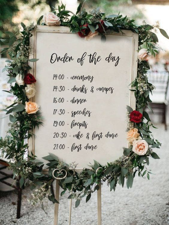 Personalised Order Of The Day Wedding Sign Printable Wedding Sign