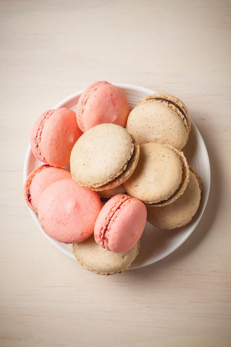 Jammy macarons stuffed with raspberry, and chocolate-espresso macarons featuring Drum Roaster single origin espresso.