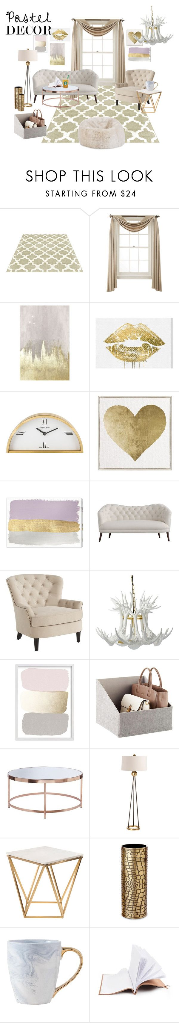 """""""pastel tones @ home"""" by rozigurl-rb ❤ liked on Polyvore featuring interior, interiors, interior design, home, home decor, interior decorating, Liz Claiborne, Oliver Gal Artist Co., Tiffany & Co. and Pier 1 Imports"""