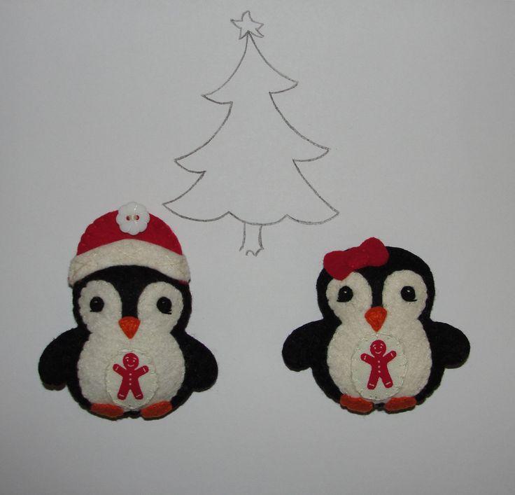 Wool Felt Penguin Ornament, Set of 2, Penguin Christmas Ornament, Felt Pengiun, Christmas Decoration, Tree Decor, Charm, Gift, Felt Animal by NitaFeltThings on Etsy