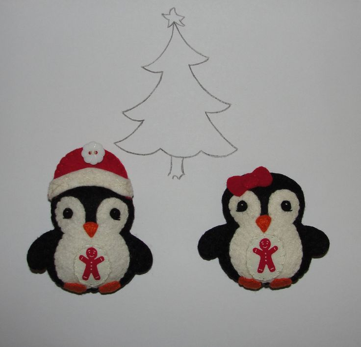 Wool Felt Penguin Ornament, Set of 2, Penguin Christmas Ornament, Felt Pengiun, Christmas Decoration, Tree Decor, Charm, Gift, Felt Animal by NitaFeltThings on Etsy