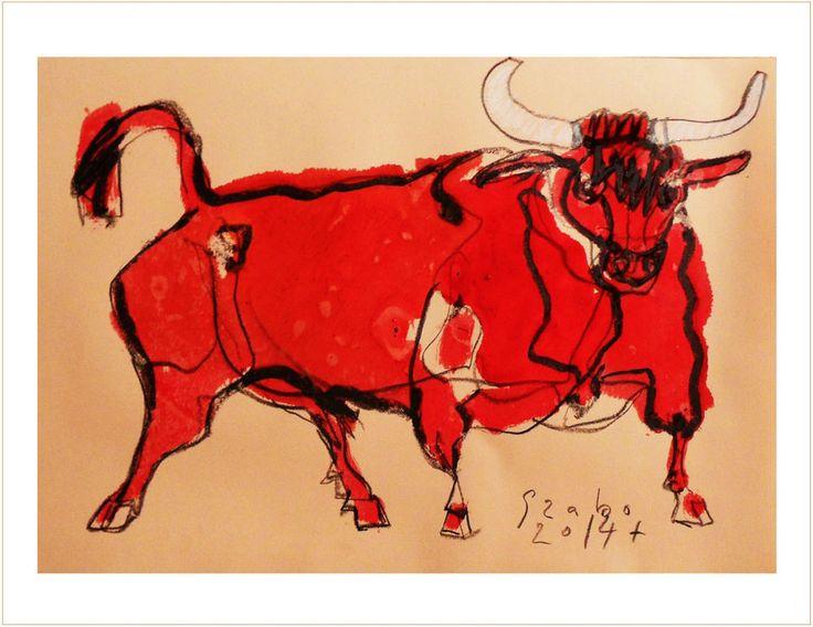 HUILE  -Taureau Bull Corrida - PLANCHE ORIGINALE  Daté Signé SZABO 2014