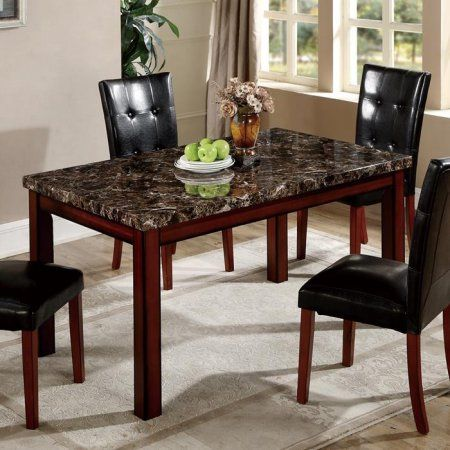 Global Furniture Faux Marble Dining Table In Cherry Oak