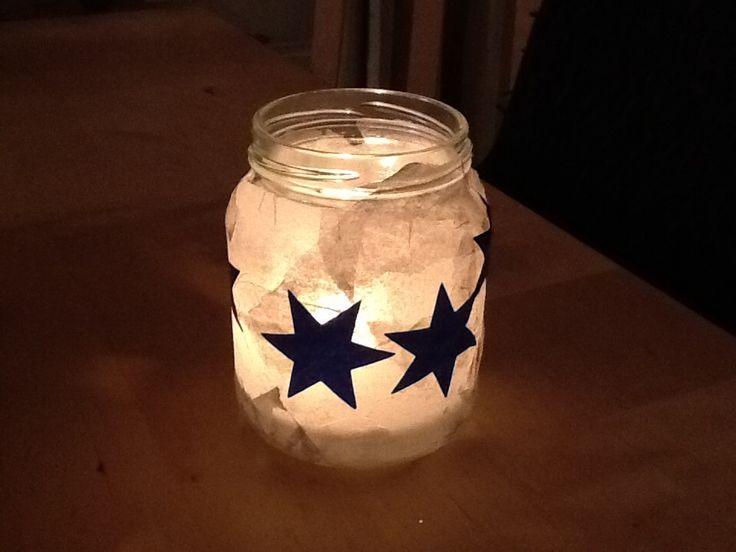 Kerstlichtje van glazen potje, vloeipapier en sterretjes @mijnhartje45