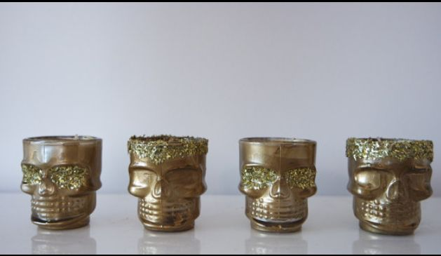 Gold and glitter skull tea lights. Candle holder set. Gift for her. Present for loved one