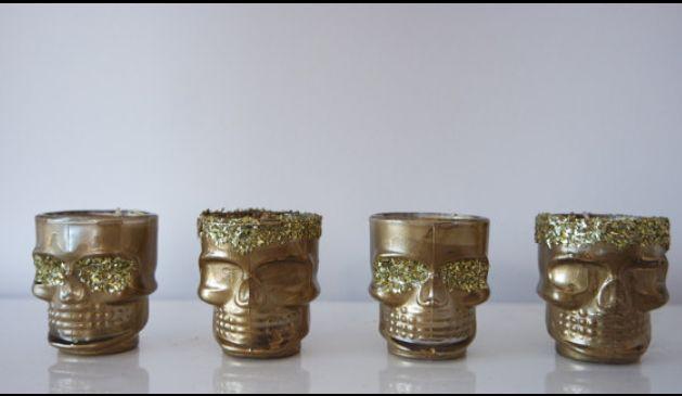 Gold and glitter skull tea lights. Candle holder set. Gift for her. Present for loved one