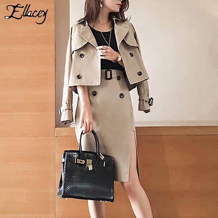 New Arrival 2017 Spring Fashion Elegant Women Suits Work Wear Business Soild Casual Trench Coat + Skirt Women 2 Piece Sets