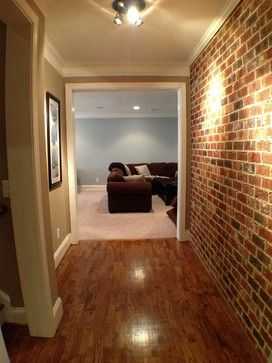 Basement Design Ideas, - brick wall in hall