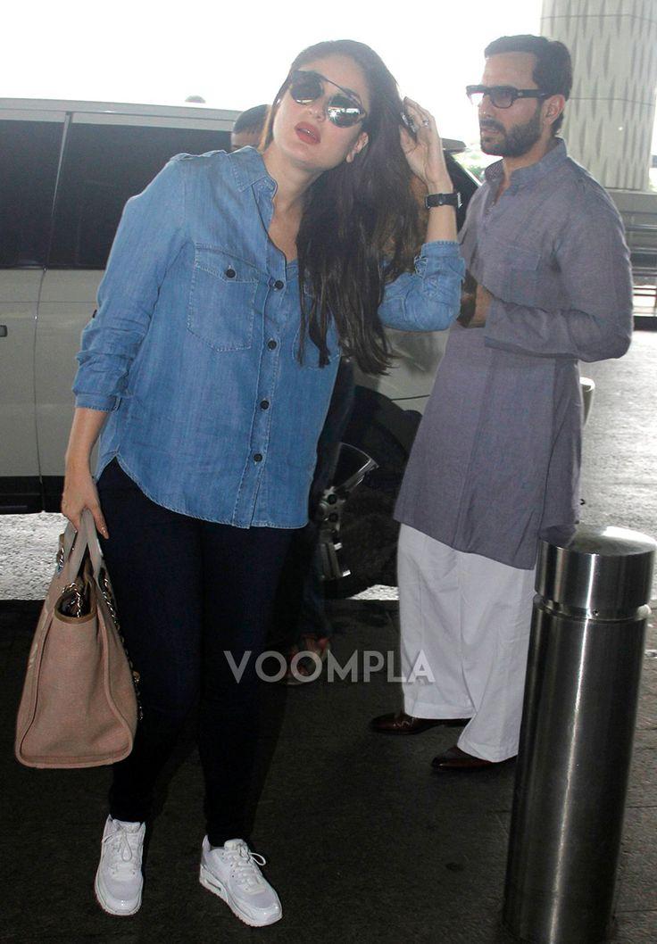 Kareena Kapoor with hubby Saif Ali Khan at the airport. via Voompla.com