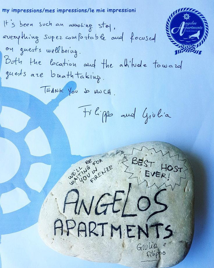 """True hospitality consists of giving the best of yourself to your guest""👌👍 Thank you Giulia and Filippo for your kind message and for making me feel so special this morning!✏📃🇮🇹😍 🌍 www.angelosalonissos.com #angelos_apartments #alonissos #sporades #greece #autumn2017 #italianGuests #pebble #present #message"