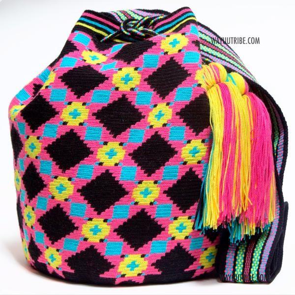 Wayuu Inforamtion for Product Hermosa Wayuu bags. Hermosa Wayuu Style mochilas are rare art for its' complexity & method to produce a single Wayuu Tribe Bag.