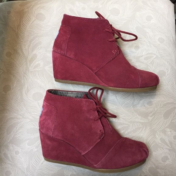TOMS Maroon Suede Lace Up Wedge Bootie TOMS Maroon Suede Lace Up Wedge Bootie TOMS Shoes Ankle Boots & Booties