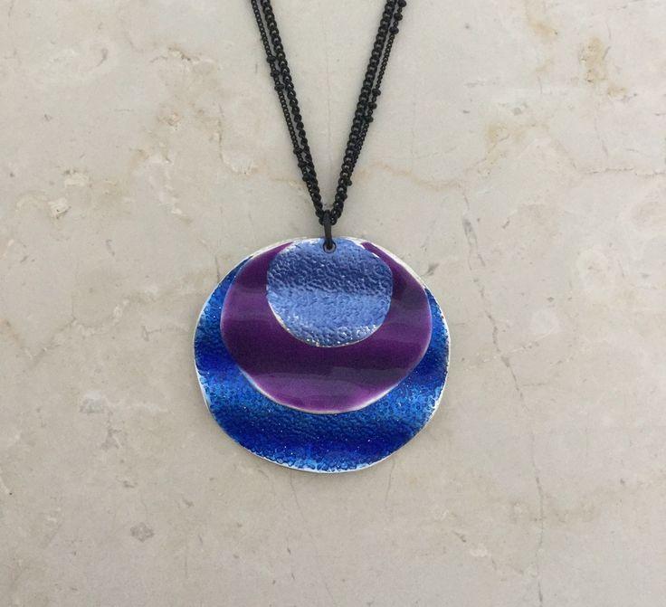 Unique Fashion Jewellery Australia - Blue and purple disk pendant, $45.00 (http://www.uniquefashionjewellery.com/blue-and-purple-disk-pendant/)