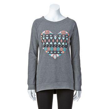 Electric Pink Tribal Heart Tunic Sweatshirt - Juniors #Kohls