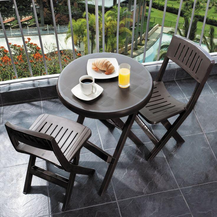 Beautiful Outdoor Rimax Resin Folding Bistro Set Brown