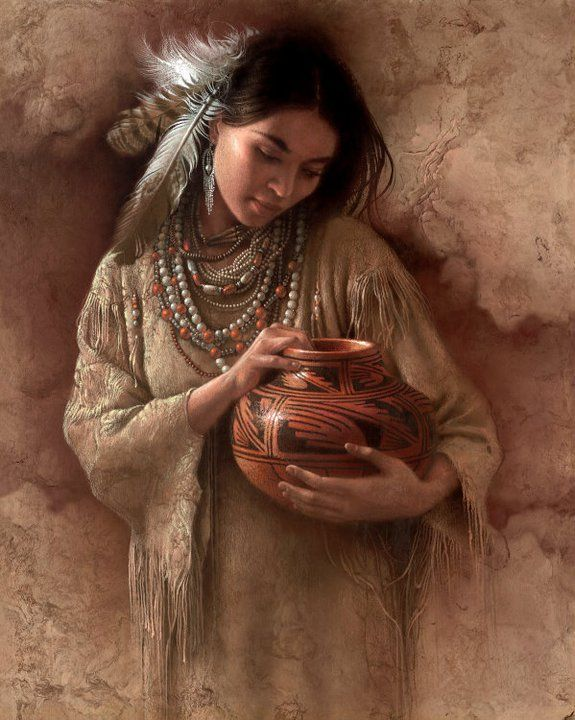 """Collector's know him for his images of Native Americans, often solitary figures of women. """" I try to convey a spirituality in my art th..."""