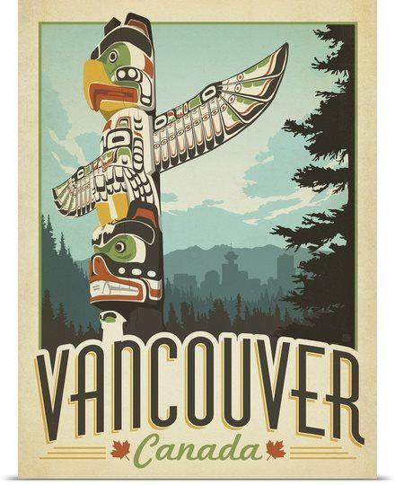 Vancouver, Canada - Retro Travel Poster