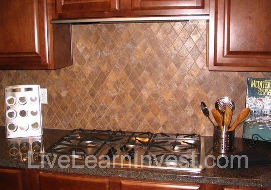 Kitchen Tile Backsplash Granite Countertop Diamond Pattern