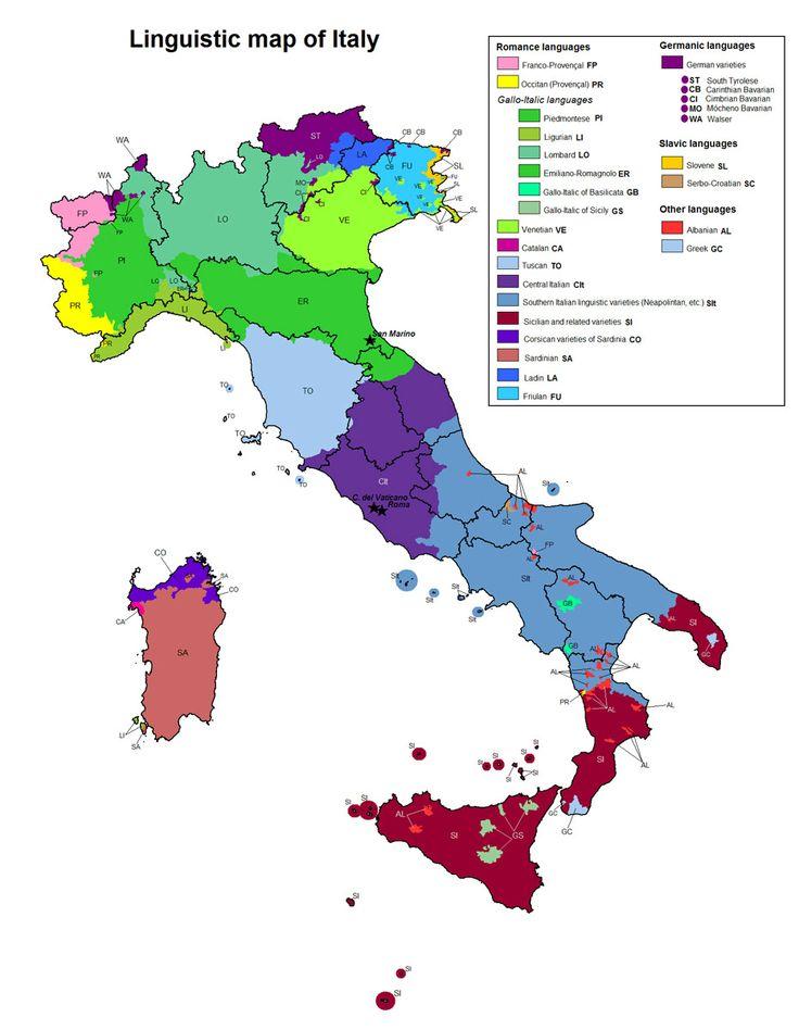 Mappa linguistica dell'Italia