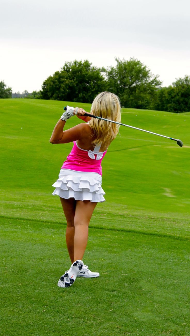 FlirTee Golf Bow T Back Top and Ruffle Butt Skirt www.flirteegolf.com