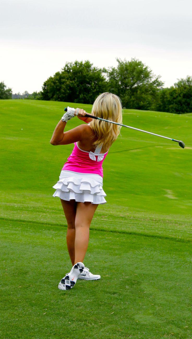 FlirTee Golf Bow T Back Top and Ruffle Butt Skirt www.flirteegolf.com
